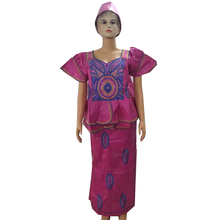 MD african bazin dresses with skirt sets africa style women clothing embroidered dress turban head wraps