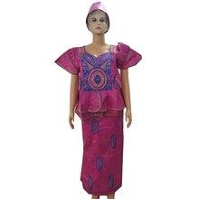MD afrikanische bazin kleider mit rock sets afrika stil frauen afrikanische kleidung bestickt frauen kleid turban afrikanische kopf wraps