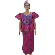 MD afrykańska tkanina bazinowa sukienki z komplety spódniczek styl afrykański damska odzież afrykańska haftowana sukienka damska turban afrykańskie okłady na głowę