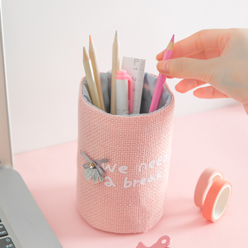 TUTU Pink Fabrics Pen Holder Office Organizer Cosmetic Pencil Pen Stand Holder Stationery Container Office School Supplies H0425