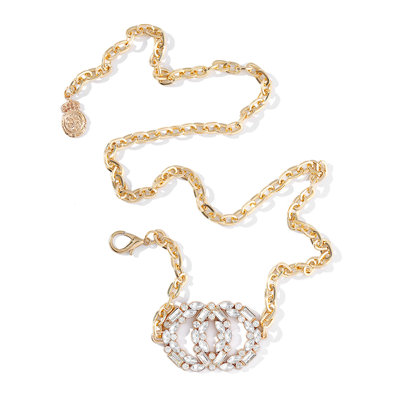 Women Fashion Water Diamond Metal Adjustable Waist Chain Belt Elegant Flash diamond 105cm Waist Chain Women Dress Belt  2021 New 5