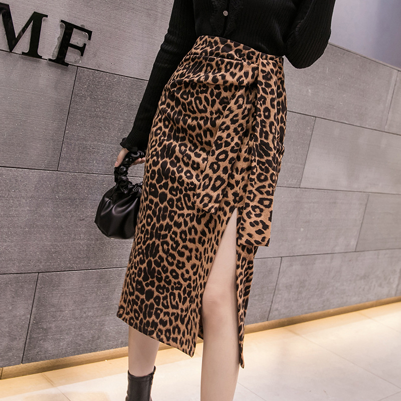 Winter Fall Sexy Bodcony Leopard Print Long Skirt Women Spring Office Ladies High Waist Faux Leather Suede Dot Pencil Skirts