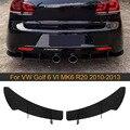Задний диффузор для автомобиля  разделители губ  отделка для Volkswagen VW Golf 6 MK6 VII GTI R20 2010-2013 плавники в стиле акулы  разделители ABS  черный