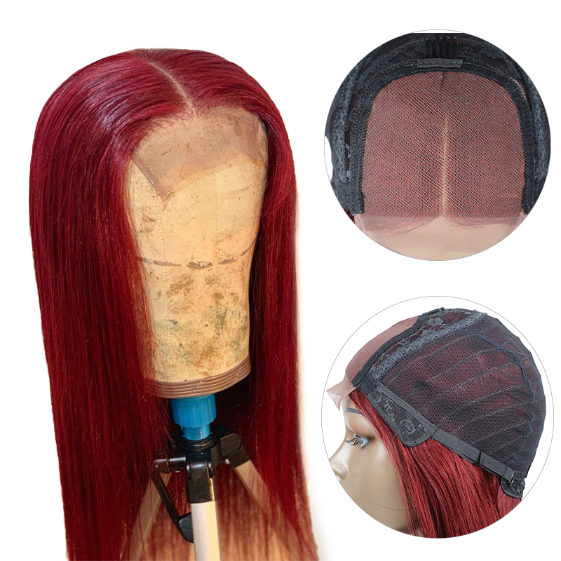 Pinshair Lace Front Human Hair Wigs 4*4 Closure 1B99J Burgundy Blonde Ombre Peruvian Straight Hair Wigs For Black Women Non-Remy