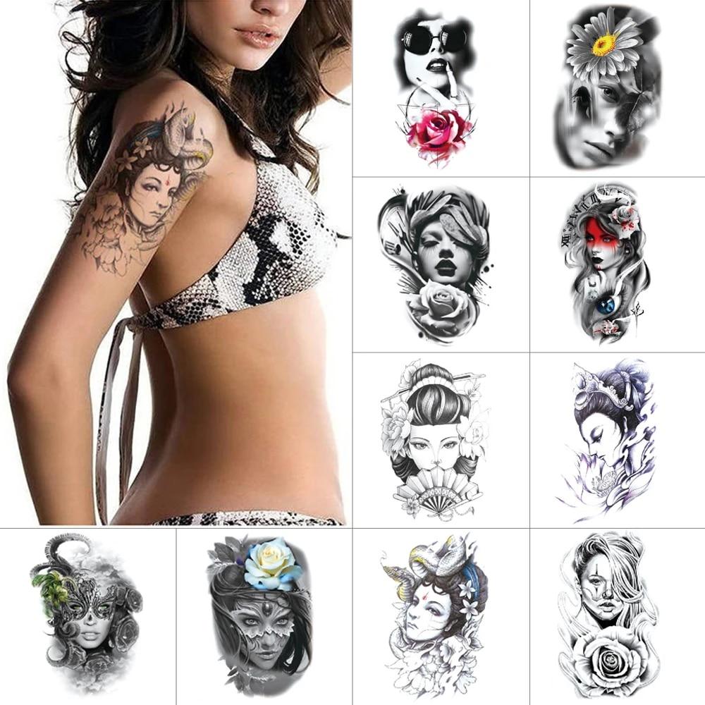 Encre Noire Autocollants De Tatouage Temporaire Modele De Beaute Femme Guerrier Bras Tatouage Fleur Impermeable Faux Tatouage Pour Les Femmes Aliexpress