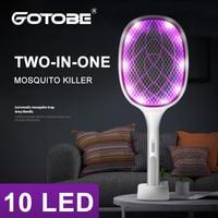 Zwei-in-One-10 LED Falle Moskito Mörder Lampe 3000V Elektrische Bug Zapper USB Aufladbare Sommer Fly klatsche Falle Fliegen Insekt fly