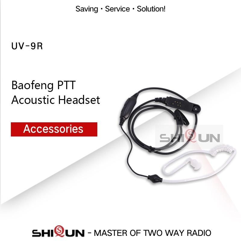 Baofeng PTT Acoustic Headset For UV-9R UV-XR UV-9R Plus BF-9700 BF-A58 UV-5S GT-3WP BF-A58 Walkie Talkie Air Tube Earpiece Mic