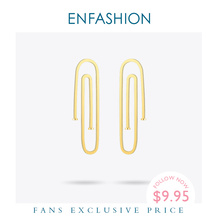 Enfashion Sieraden Geometrische Lange Pijp Dangle Oorbellen Gold Kleur Roestvrij Staal Lange Oorbellen Voor Vrouwen Oorbellen EB171031