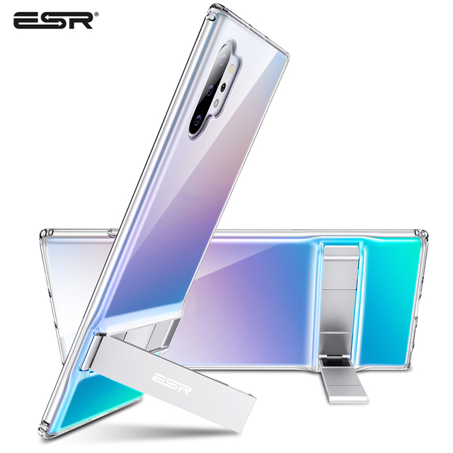 ESR Transparent Business Phone Case for Samsung Galaxy Note 10 Plus + 5G Metal Stand Kickstand Shockproof TPU Cover for S20 Plus 1