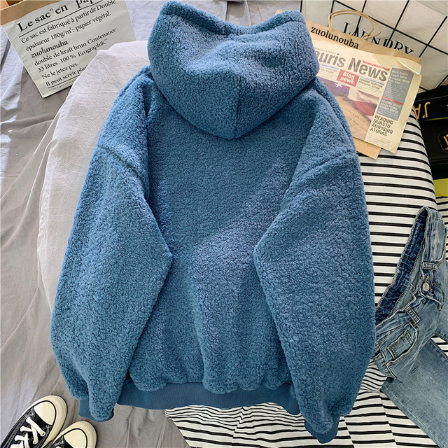 New Autumn Winter Thick Warm Coat Velvet Cashmere Women Hoody Sweatshirt Solid Blue Pullover Casual Tops Lady Loose Long Sleeve 3