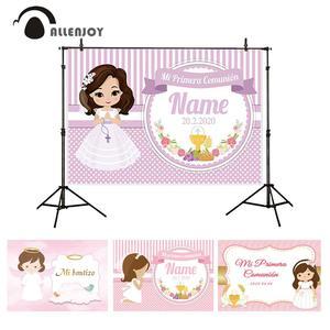 Allenjoy принцесса фон занавес для первого причастия Украшение Розовый рисовый Грааль баннер Бог благословит фон фотосессия