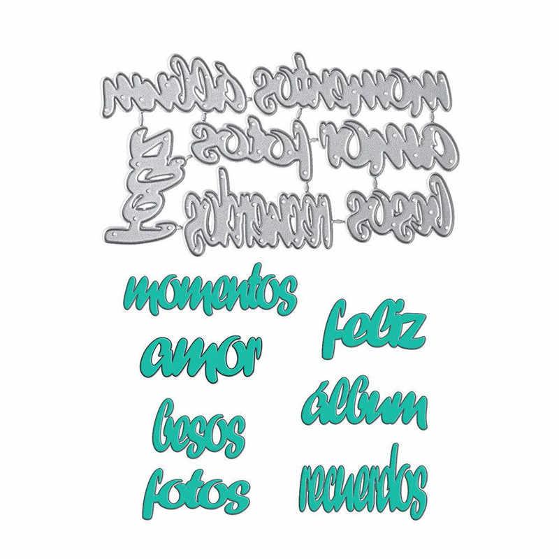 YaMinSanNiO İspanyolca kelimeler Metal kesme ölür harf Feliz Fotos Recuerdos Stencil DIY Scrapbooking albümü kağıt kartı dekoratif