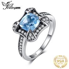 цены JewelryPalace Retro 1.8ct Natural Sky Blue Topaz Halo Ring For Woman Genuine 925 Sterling Silver Ring Wedding Fine Jewelry