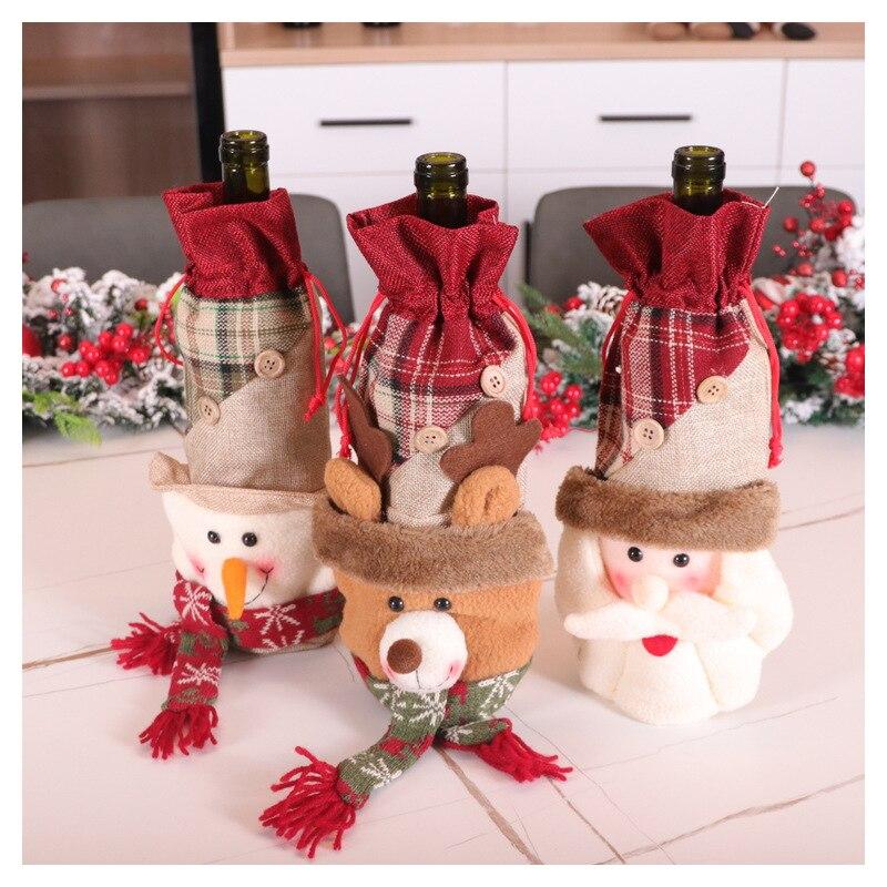 Рождественский винный набор Санта Снеговик олень, набор винных бутылок, Рождество украшение для винной бутылки