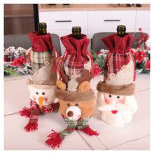 Natal conjunto de vinho santa boneco de neve elk garrafa de vinho conjunto de natal garrafa de vinho decoração