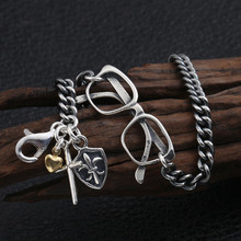 S925 sterling silver hand jewelry trend fashion Thai silver glasses cross anchor vintage bracelet(China)