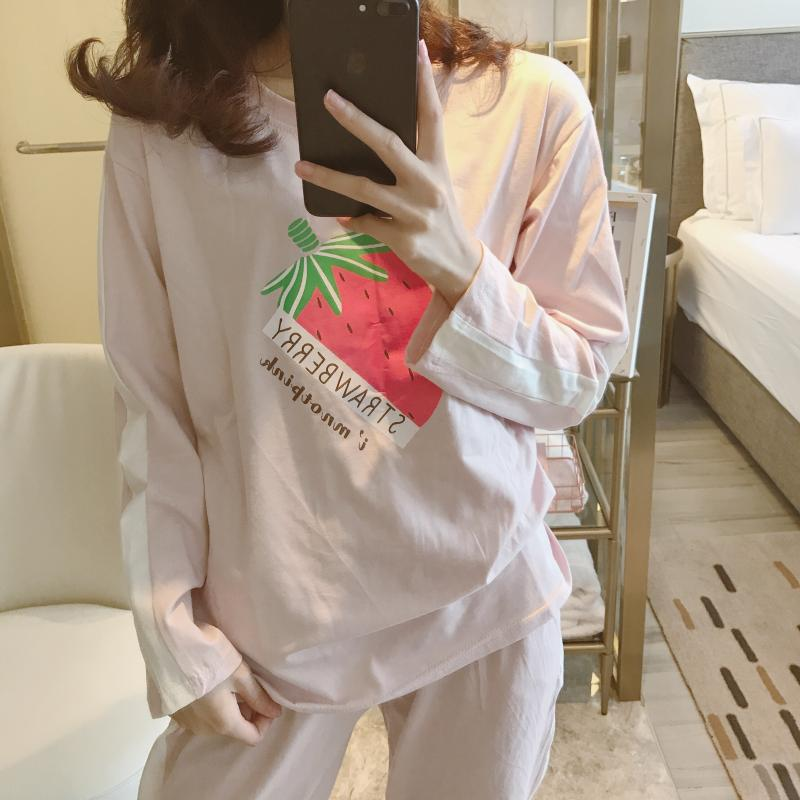 Strawberry Pajamas Women's Autumn Pure Cotton-Outer Wear Long-sleeve Suit Korean-style Cute Students Casual Wide-Leg Home Wear