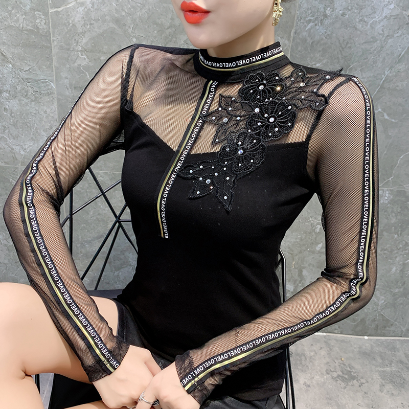 Fashion Sexy Patchwork Letter Diamonds Tshirt 2019 New Autumn Winter Women Transparent Slim Top Camiseta Mujer Streetwear T99007