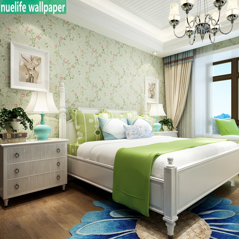 American pastoral style green flower non-woven wallpaper warm bedroom study bedside living room TV background wall paper