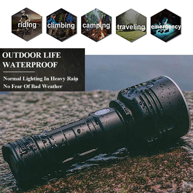 Super Powerful LED Flashlight  Waterproof torch USB rechargeable CREE XHP70 lamp Ultra Bright Lantern for camping  hunting 6