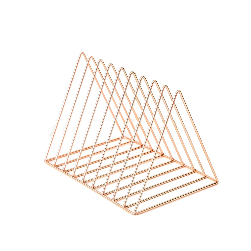 Nordic Style Ornaments Triangle Rose Gold Book Stand Metal Telescopic Folding Bookshelf Magazine Rack