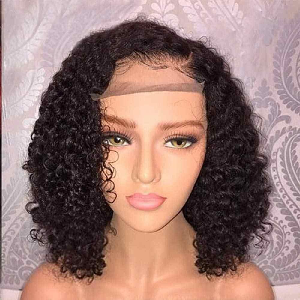 13X4 Hoogtepunt Losse Culy Menselijk Haar Lace Front Pruiken Zwart Of Honing Blonde Gemarkeerd Diepe Deel Korte Bob wigfor Zwarte Vrouwen