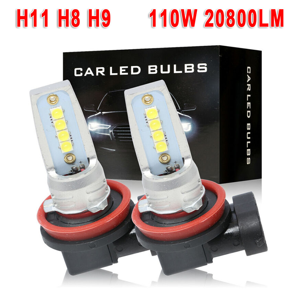 2pcs H8 H9 H11 9-32V 110W Car <font><b>LED</b></font> <font><b>Headlight</b></font> Driving Fog Lamp Canbus 20800LM 6000K White <font><b>360</b></font> Degree Beam Angle Waterproof image