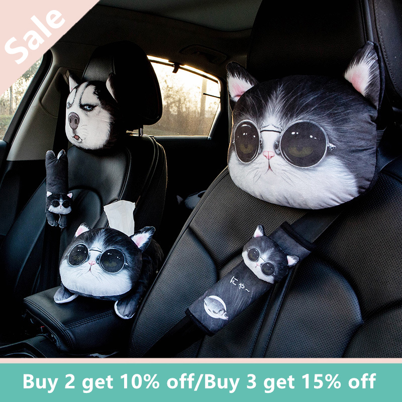 1PC Cartoon Cute Car Neck Pillow Headrest Neck Rest Support Cushion Neck Pillow Headrest & Safety Seat Belt Shoulder Strap Pad