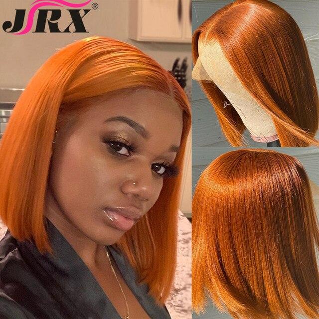 JRX שיער כתום מראש בצבע תחרה מול פאה 100% שיער טבעי בוב פאה בצבע מראש קטף ברזילאי 13*4 תחרה מול פאות