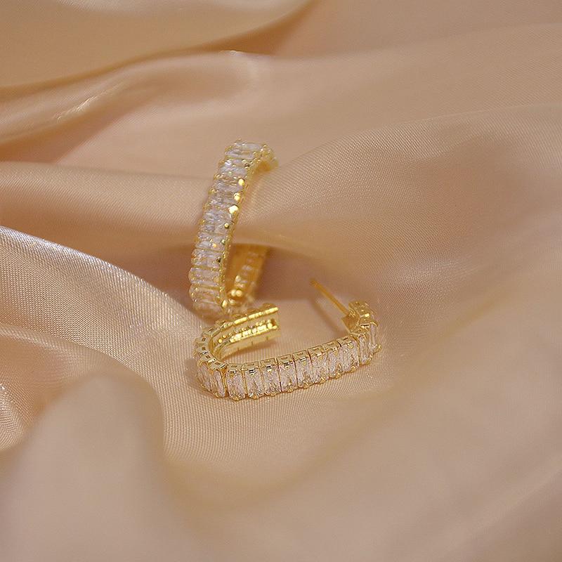 Boucles d'oreilles rondes en Zircon coréen 14k pour femmes, bijoux de tempérament 5