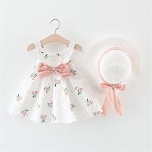 Dorywczo zestawy ubrań dla niemowląt dziewczyny noworodka sukienka ubrania słodkie bez rękawów dziewczyna sukienka zestawy odzieży dla niemowląt dzieci tanie tanio AMOZAE Drukuj REGULAR Śliczne Draped Pasuje prawda na wymiar weź swój normalny rozmiar Casual Cottom Dla dzieci Kolan