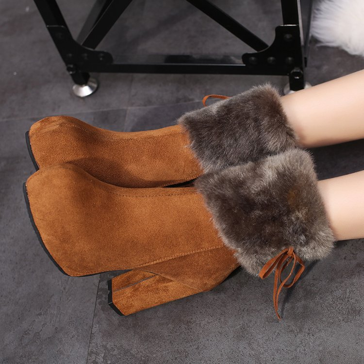 2019 winter heel snow boots for women Ankle Boots Warm Plush Snow Booties Women's Fashion Shoes High Square Heels