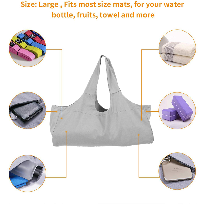 Easy To Carry Yoga Mat Bag, Yoga Mat Tote Sling Carrier With Large Side Pocket, Yoga Mat Holder Fits Most Size Mats