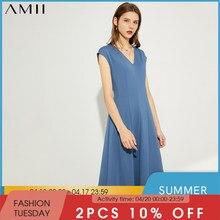 Amii minimalismo primavera novedad de verano vestido para las mujeres oficial Lady sólido V Slim temperamento vestido de las mujeres 12070154