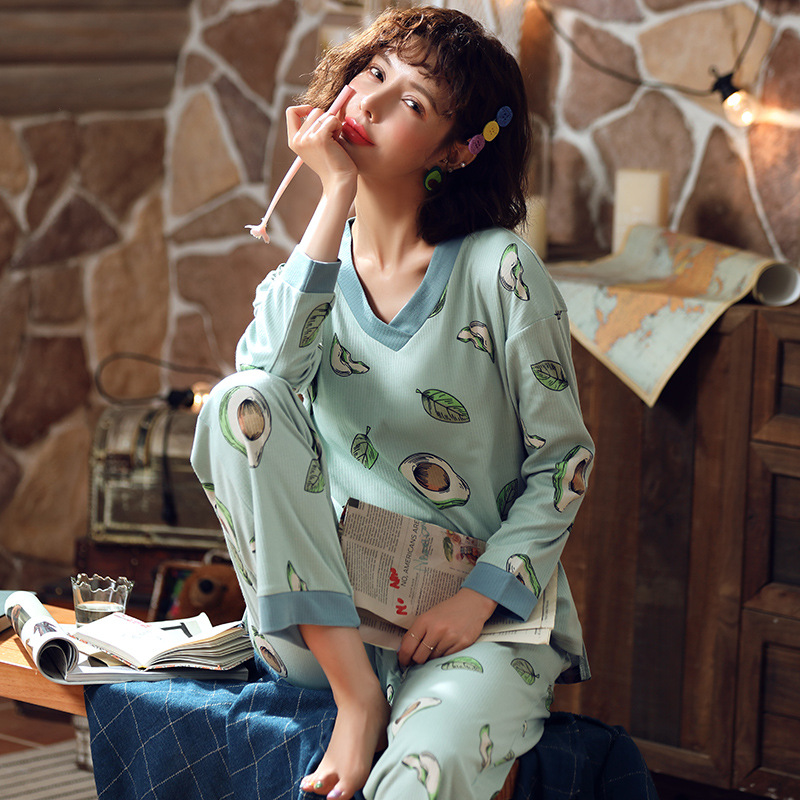 Korean-style Spring And Autumn Pajamas Women Long Sleeve Pure Cotton Loose-Fit Green Leaf Home Wear Fresh Students-Outer Wear Tw