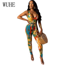 WUHE Retro Sexy Sleeveless Hollow Out Bodycon Bandage Playsuits Summer Elegant Fashion Printed Lace-up Jumpsuits for Women