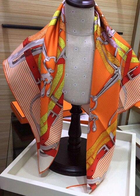 2020 New Arrival Fashion Elegant Brand Classic Design Black 100% Silk Scarf 90*90 Cm Square Shawl Twill Wrap For Women Lady Arab