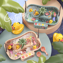 2021 Child Toy Magnetic Fishing Music Electric Circulation Fishing Duck Fishing Platform Water Play Game Toys for Kids Gift