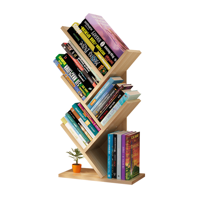 Dormitory Students Use Small Tree-shaped Bookshelves On Their Desks. Simple Desktop Shelves For Children's Office Books