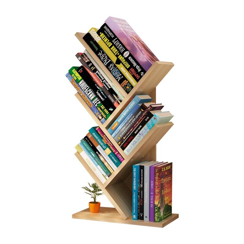 Dormitory Students Use Small Tree-shaped Bookshelves On Their Desks. Simple Desktop Shelves For Children's Office Books