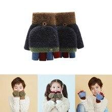 Buy Unisex Warm Soft Kids Baby Toddler Winter Gloves Convertible Flip Top Fingerless Gloves Stripe Knit Mittens Children Gifts directly from merchant!