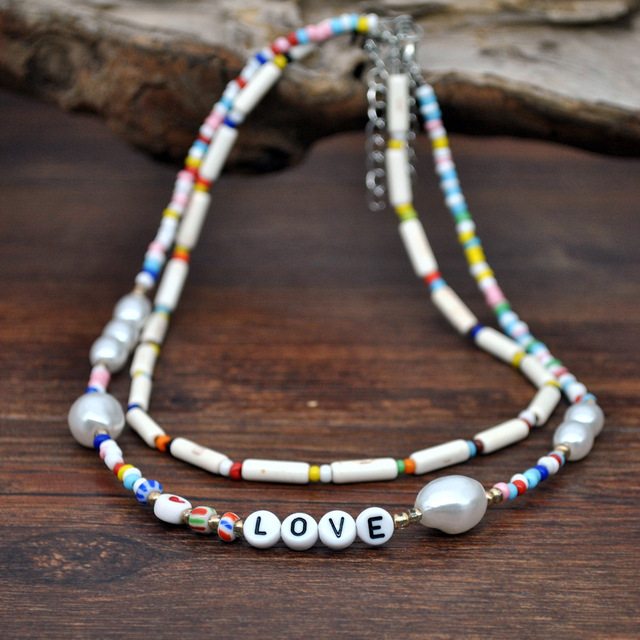 HangZhi 2020 New 2pcs/set Baroque Pearls Geometric Heart Cylinder Wooden Beads Alphabet LOVE Colorful Beaded Collar Necklace