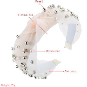Summer Lace Knot Hair Hoop Pearl Rhinestone headbands 4