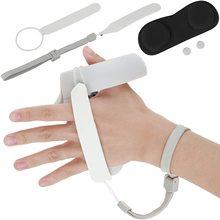 החלקה PU Knuckle רצועה עם רצועת יד מתכוונן & כפתור כיסוי עבור צוהר Quest 2 מגע בקר גריפ אביזרי (שחור)