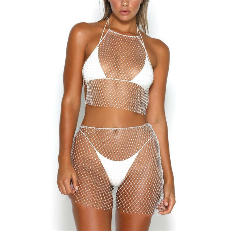Women Sexy Mesh Bikini Cover Up Swimwear Short Skirt Crop Top Summer Beach Dress Bathing Suit