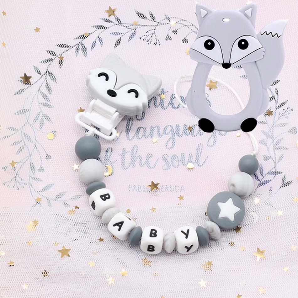 Personalized Hand-made Silicone Pacifier Chain Baby Name Custom Chain Clip Food Grade Silicone Beads Letters Baby Teething Toys