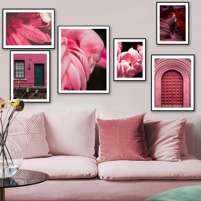 Pink Morocco Door Antelope Canyon Flower Wall Art Canvas Painting Nordic Posters And Prints Pictures For Living Room Decor