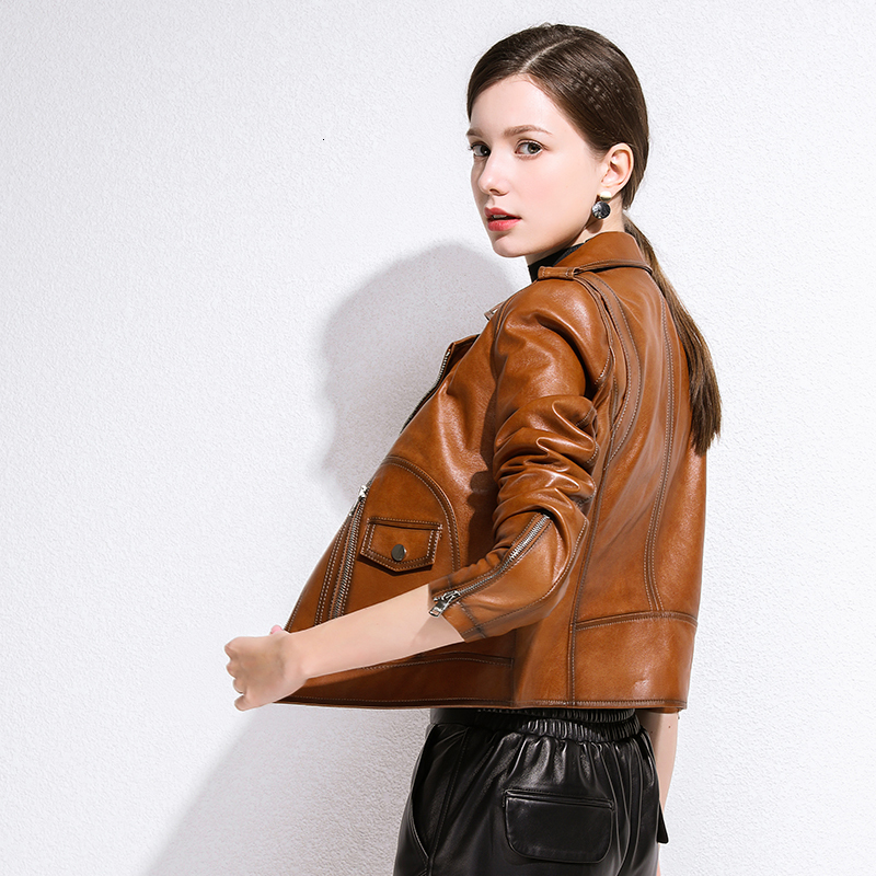 Leather Jacket Women Spring Autumn Short Motrocycle Jacket Slim Coat Sheepskin Genuine Leather Jacket Women Clothes 2020 YY983