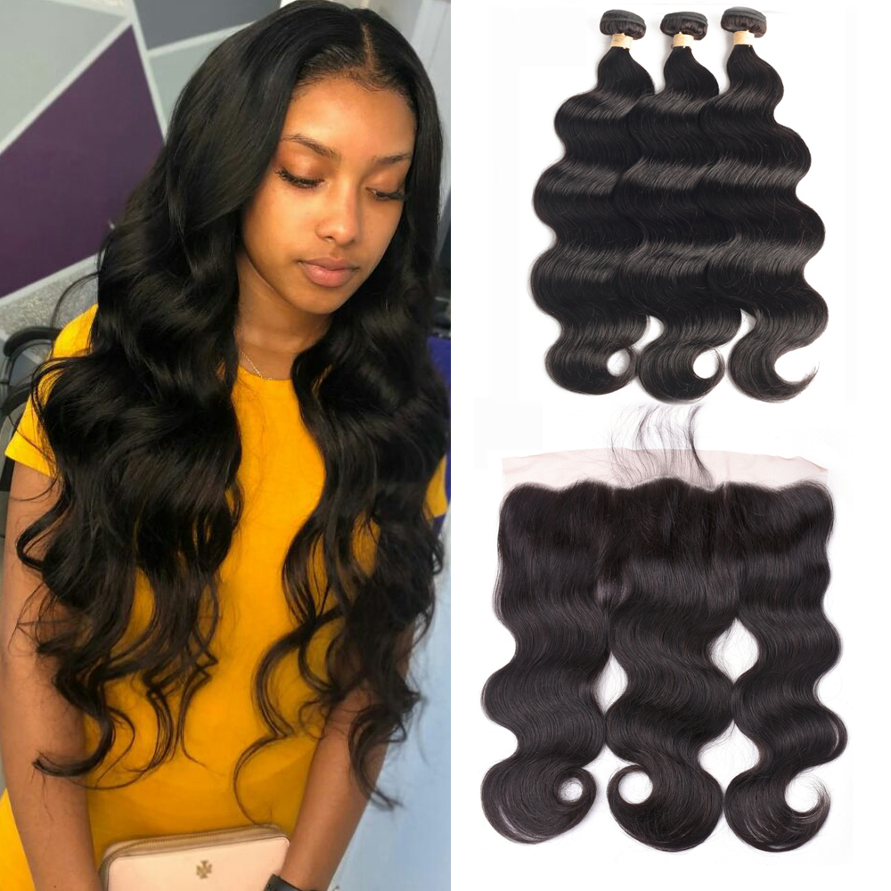 Body Wave Bundles With Frontal 13x6 Brazilian Hair Weave Bundles 100% Human Hair 3 Bundles With Closure Frontal Hair Extension