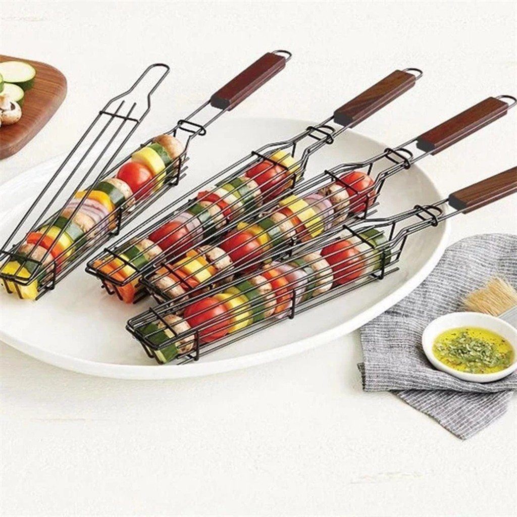 Многоразовая прочная Антикоррозийная корзина для гриля, инструмент для барбекю с деревянной ручкой, сетка для гриля для коллег #3s
